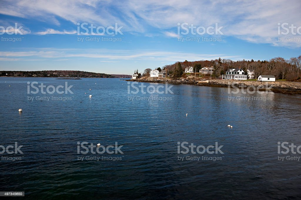 Coastal scenery from Ocean Point, Maine stock photo