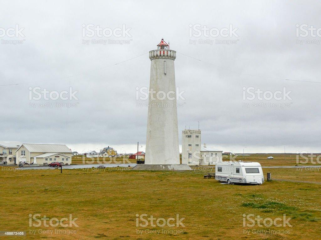 coastal scenery with lighthouse stock photo