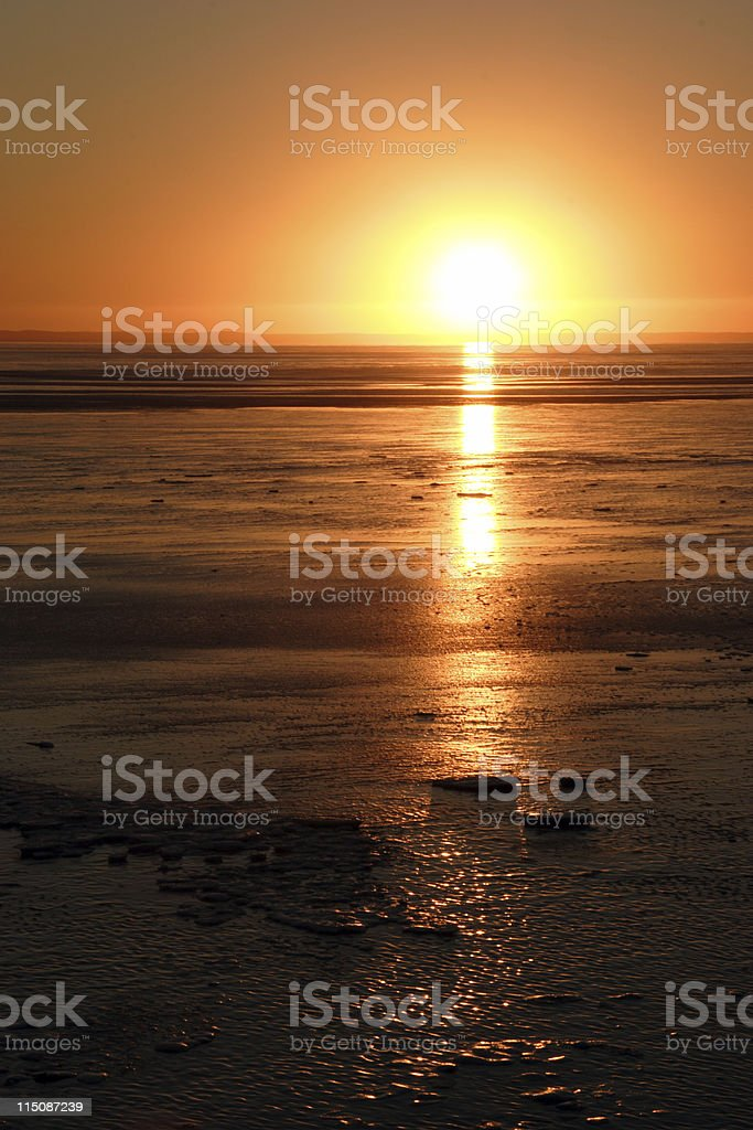coastal scenes - winter sunset (portrait) royalty-free stock photo