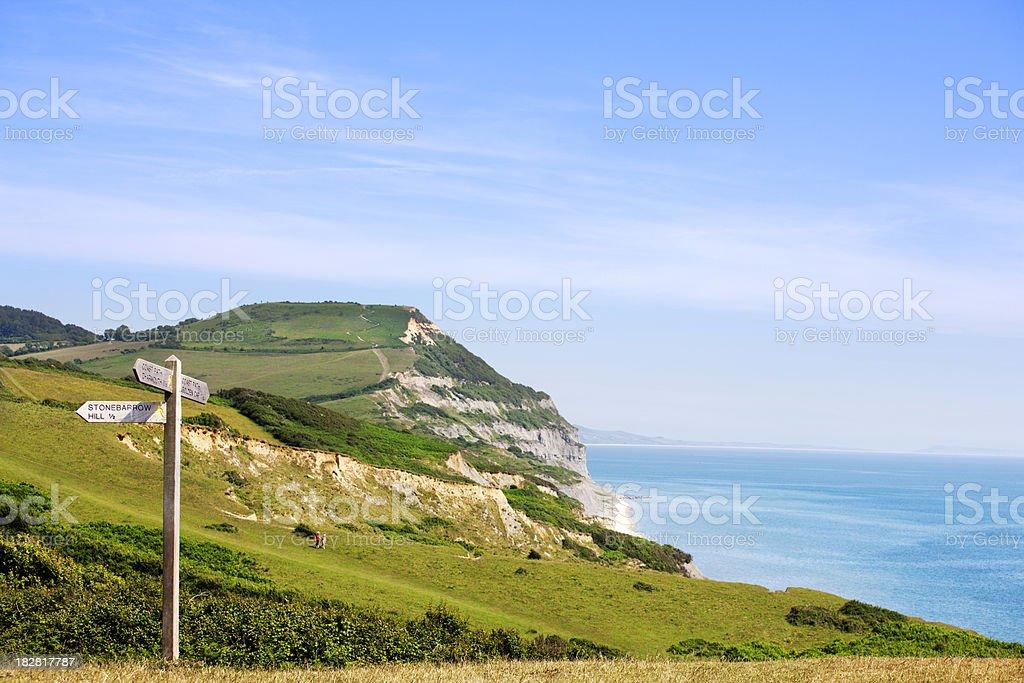 Coastal signpost stock photo
