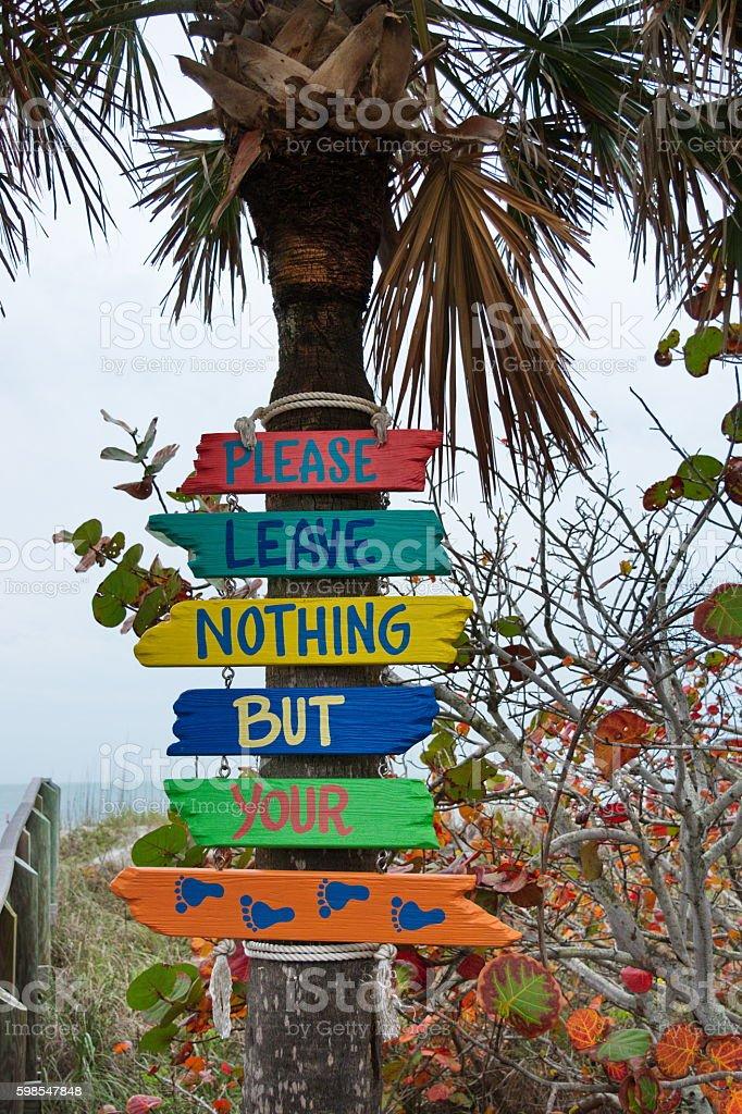 Coastal Signs to Beach stock photo