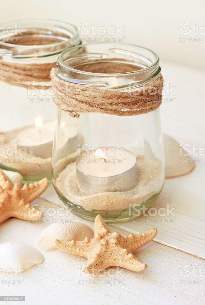 coastal style diy candles stock photo
