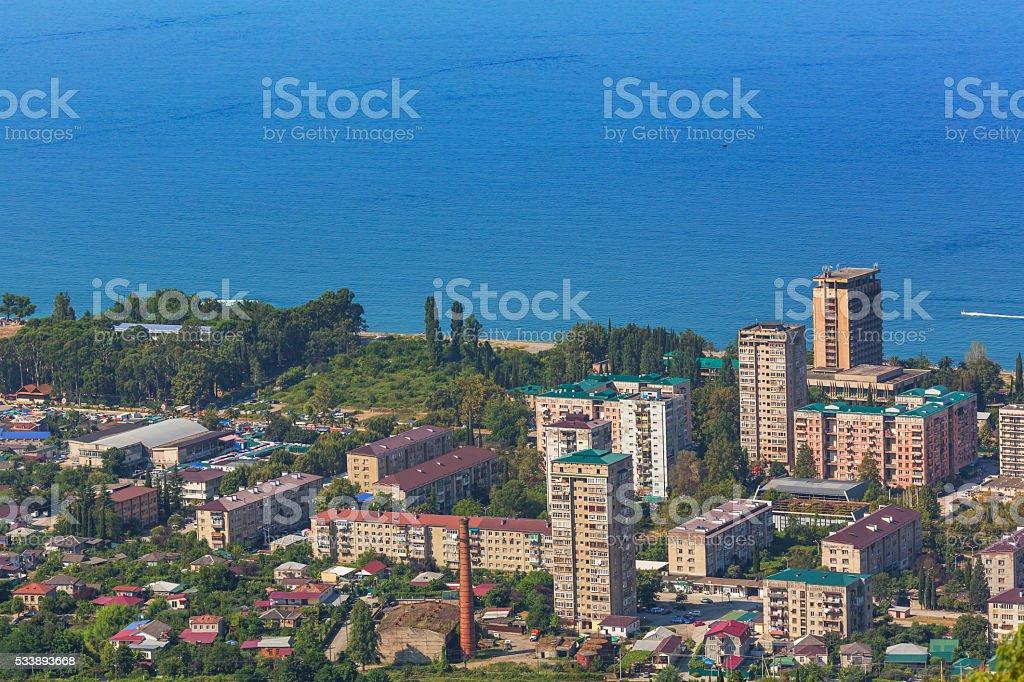 Coastal town aerial view stock photo