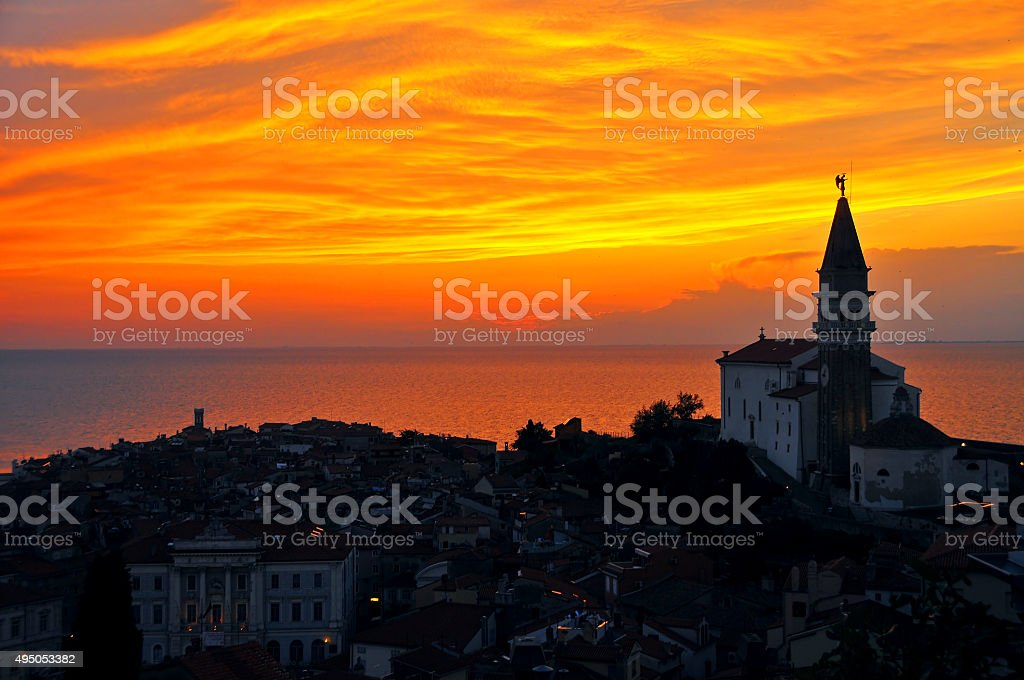 Coastal Town And Sunset In Slovenia stock photo