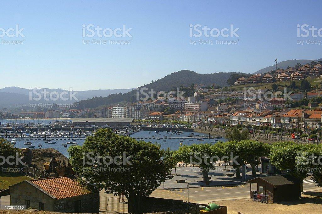 Coastal town in Spain - with marina stock photo