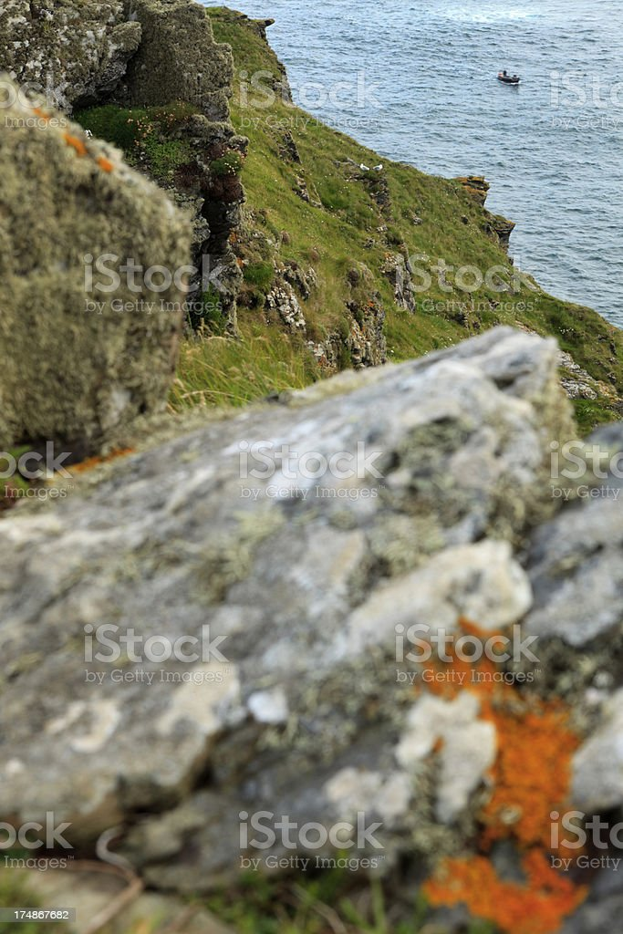 coastal view at Port Quin in Cornwall stock photo