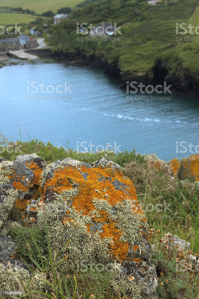 coastal view at Port Quin in Cornwall royalty-free stock photo