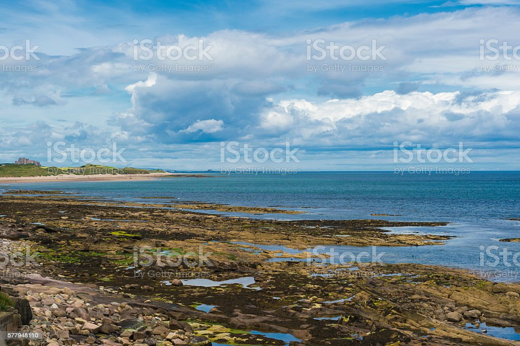 Coastal view from Seahouse in north east England towards Lindisfarne stock photo