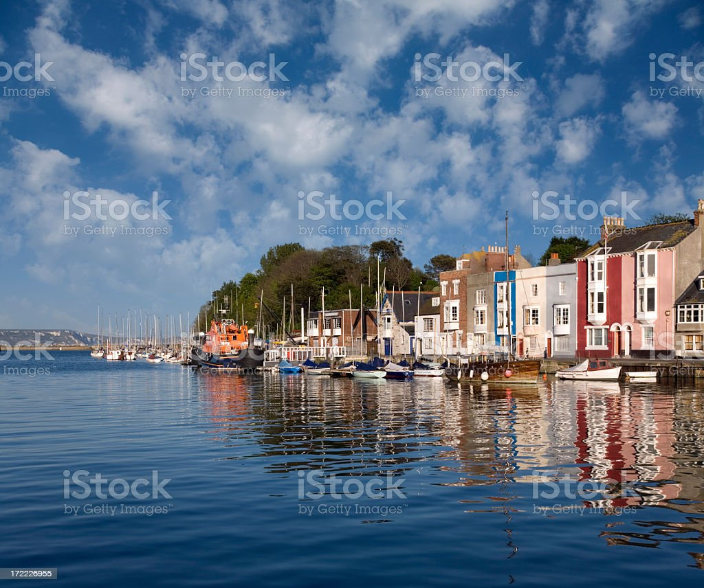 Coastal view from the water of Weymouth Harbour on sunny day stock photo