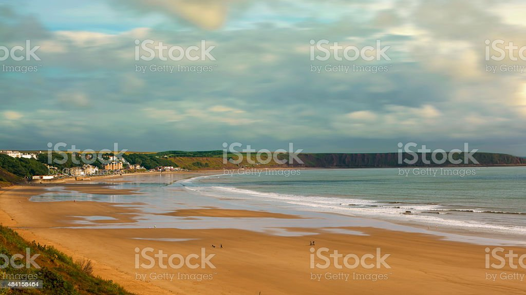 Coastal view of Filey, North East Yorkshire stock photo
