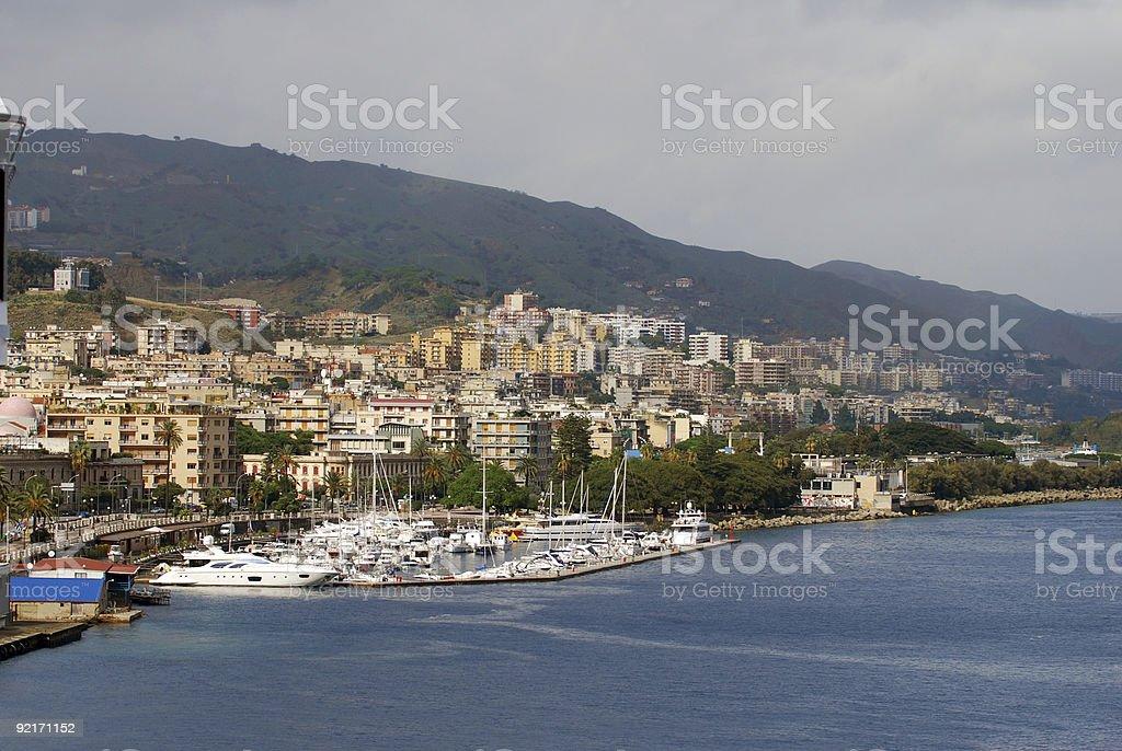 Coastal view of Messina, Sicily stock photo