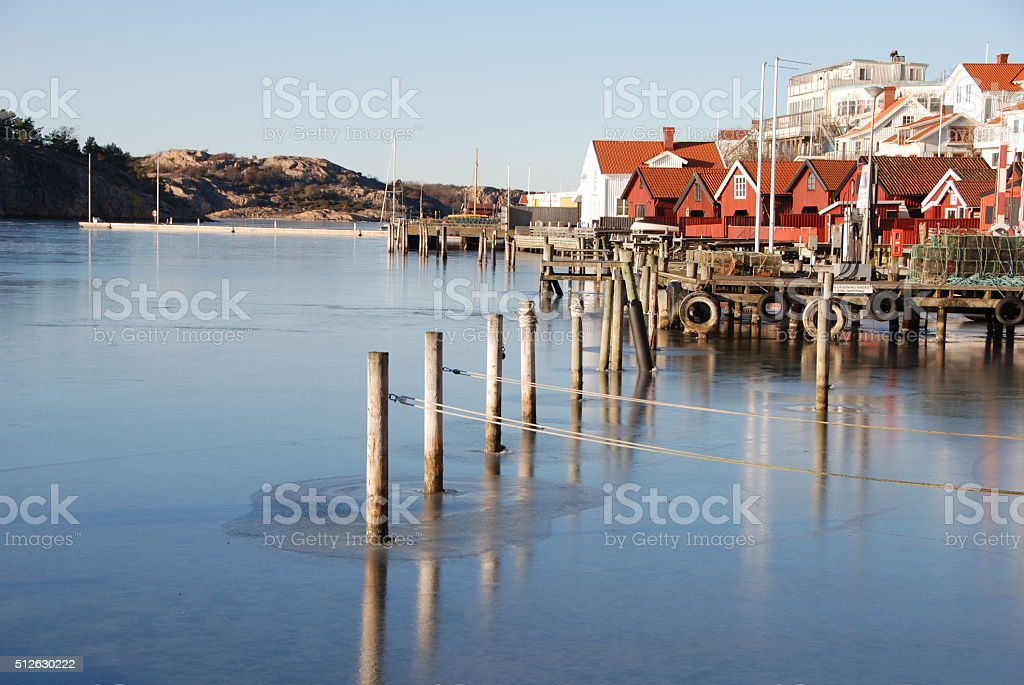 Coastal village by the west coast of Sweden stock photo
