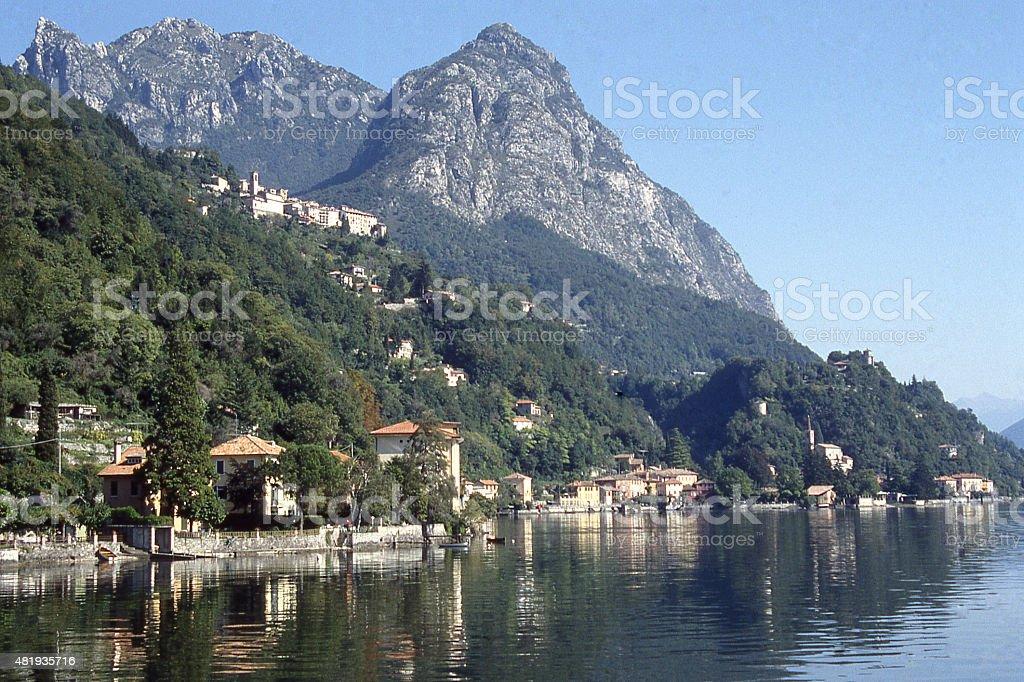 Coastal villages near Gravedona and Lake Como northern Italy stock photo