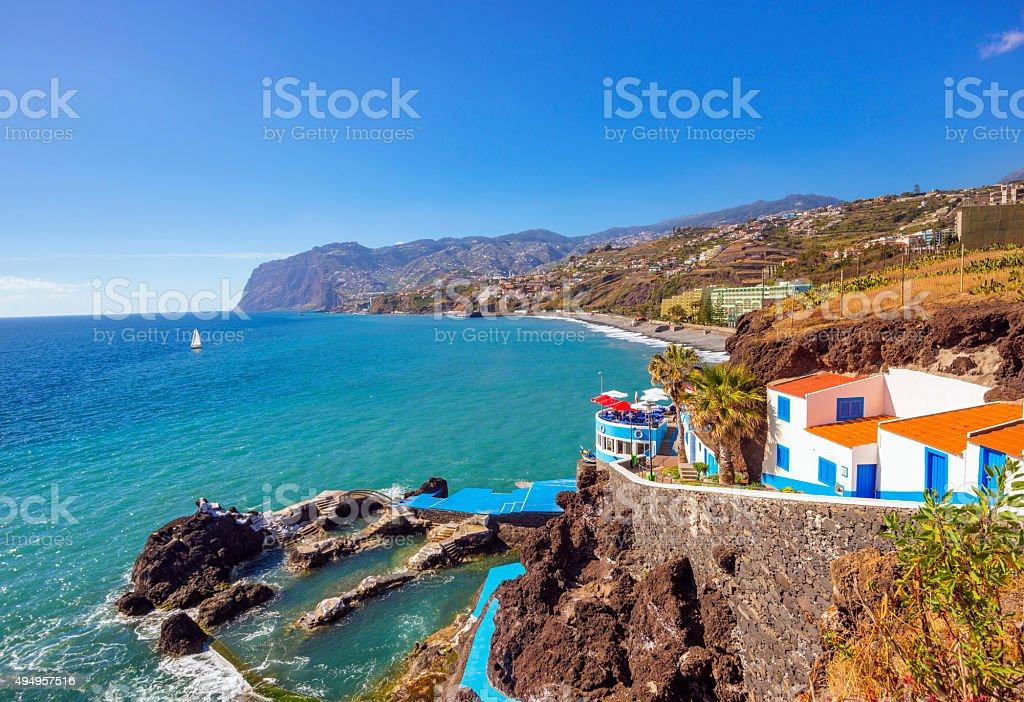 Coastal Walk and coastline at Praia Famosa, Funchal Lido stock photo