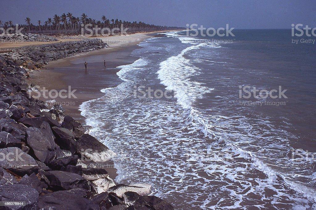 Coastal waves erosion control seawall near Lome Togo West Africa stock photo