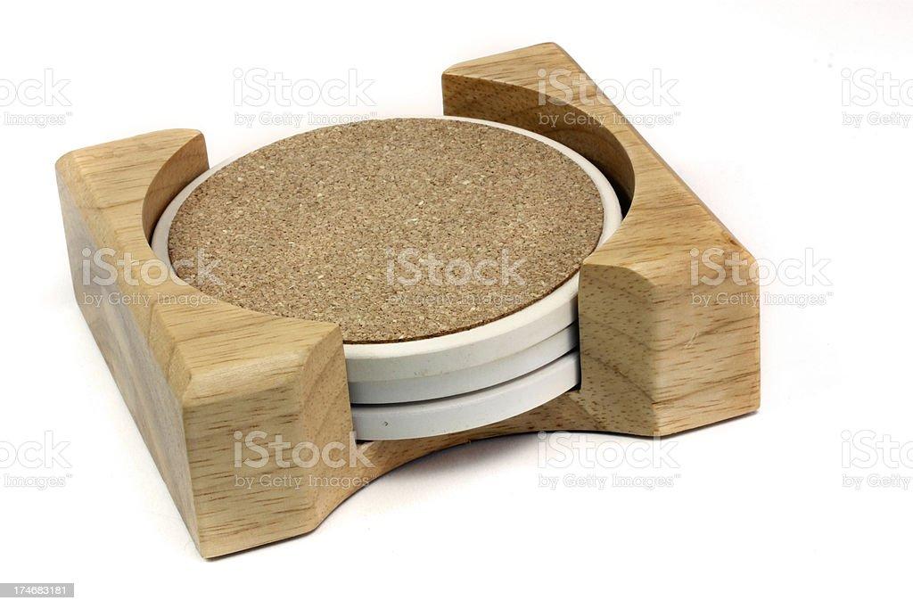 coaster wood set isolated on white stock photo