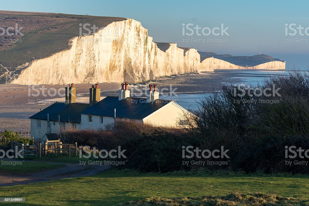Coastguard Cottages and the Seven Sisters stock photo