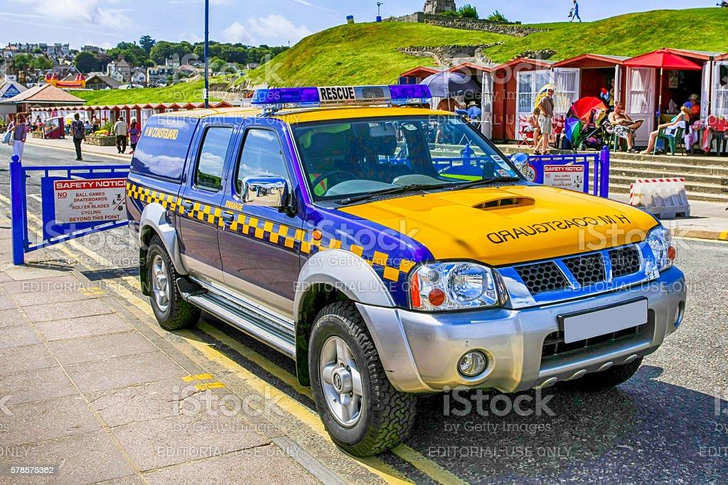 HM Coastguard Patrol vehicle at Swanage, UK stock photo