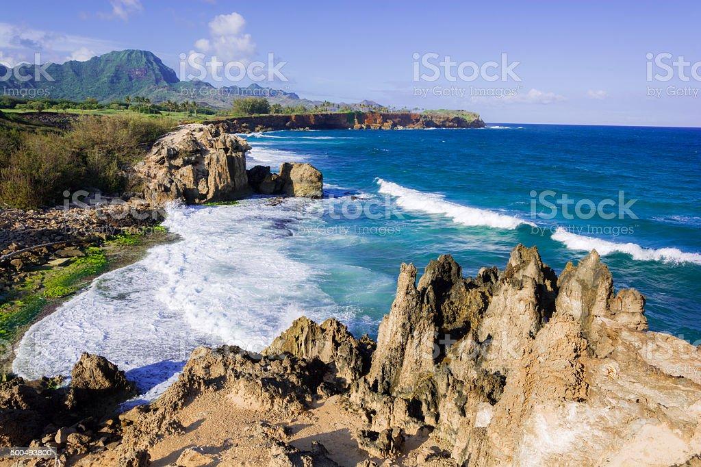 Coastline along Maha'ulepu Heritage Trail on island of Kauai stock photo