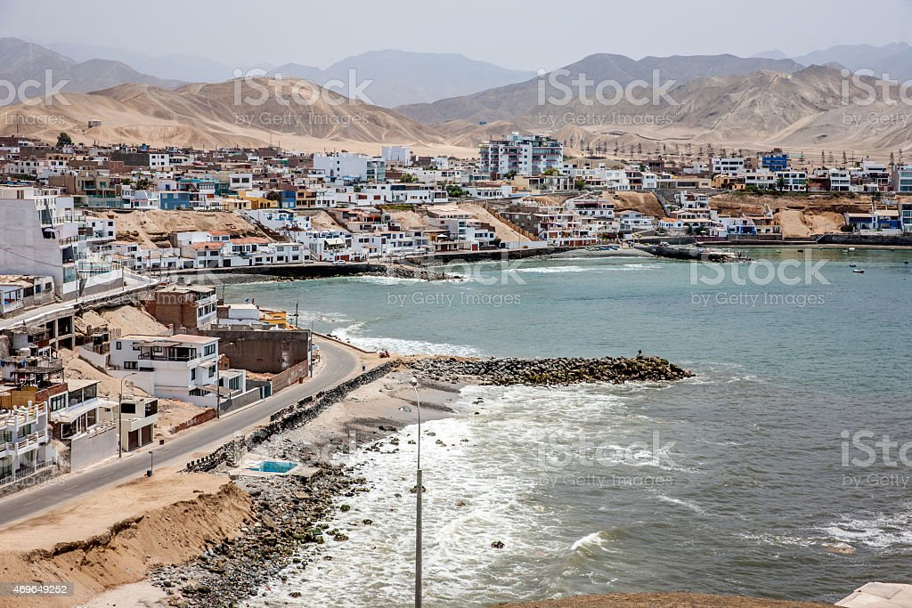 Coastline and bay at Punta Negra near Lima, Peru stock photo