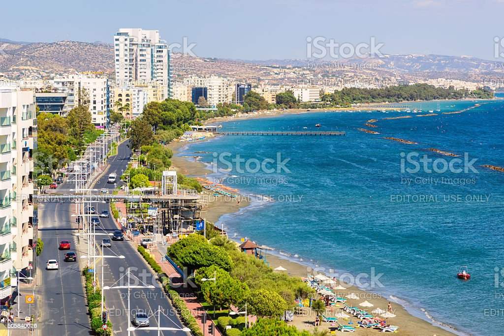 Coastline and beach aerial view in center on Limassol, Cyprus stock photo