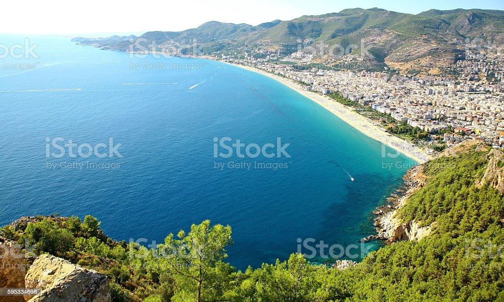 Coastline and city beach in Alanya Turkey stock photo