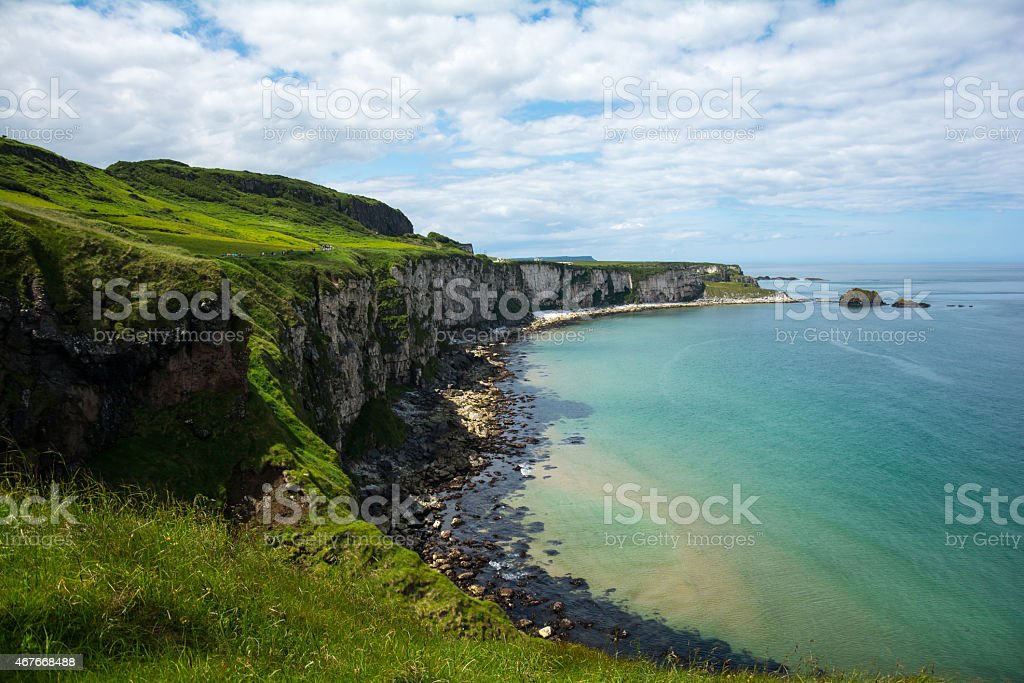 Coastline and cliff at carrick a rede  in Northern Ireland stock photo