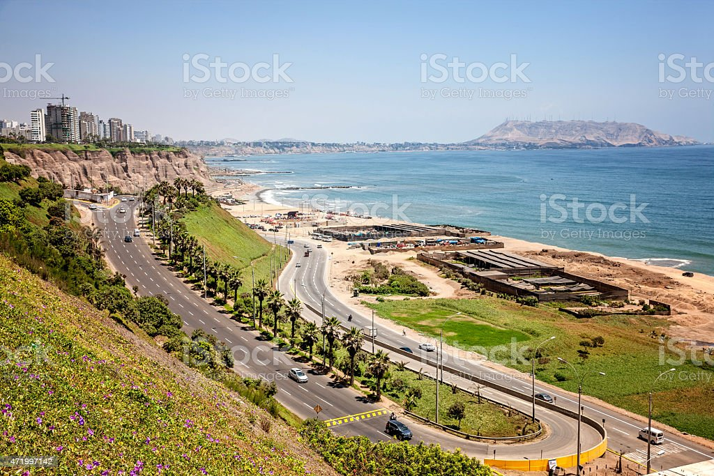 Coastline and coastal road in Lima stock photo