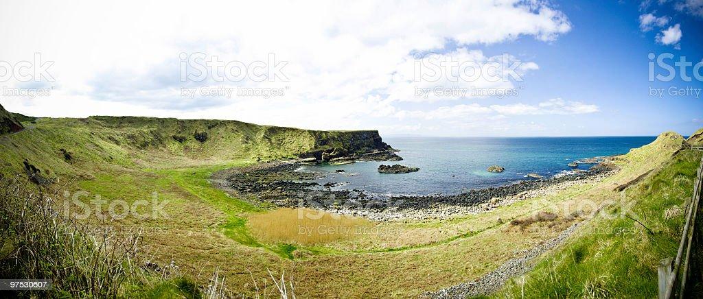 Coastline and seashore panorama near Giants Causeway, Northern Ireland stock photo