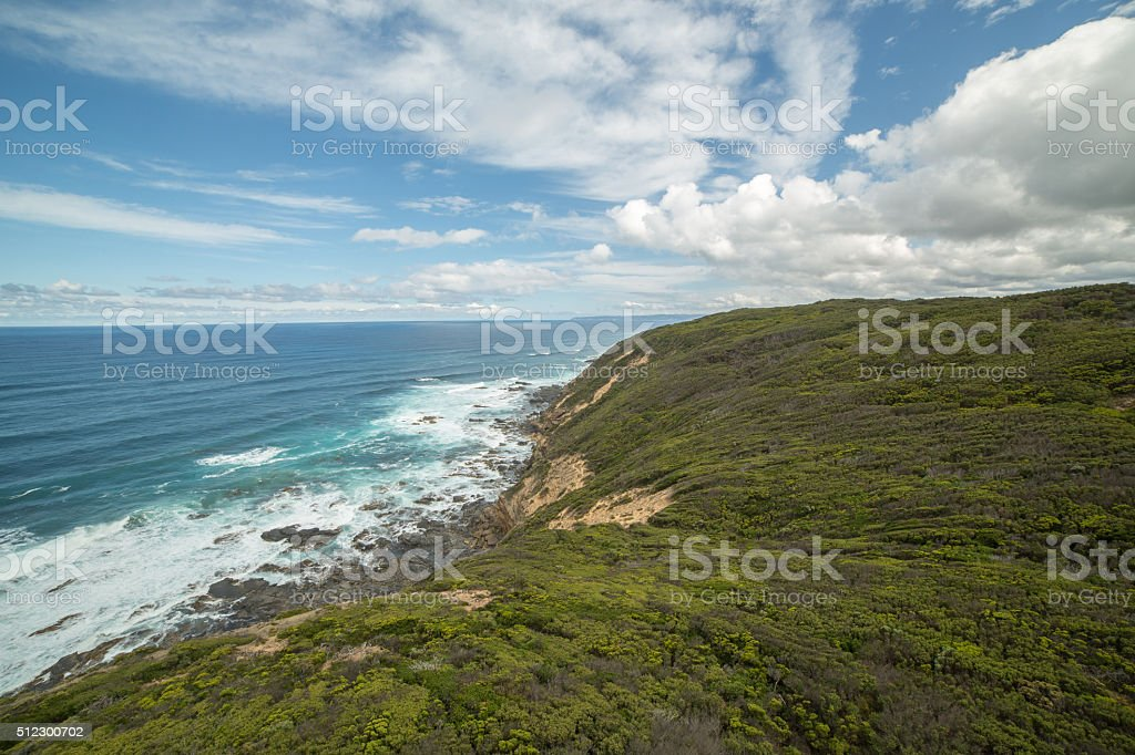 Coastline at Cape Otway, the southeast point in Australia stock photo