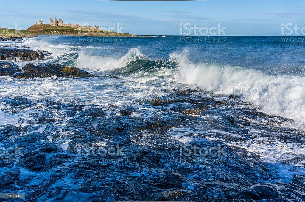 Coastline at Dunstanburgh Castle, Northumberland stock photo