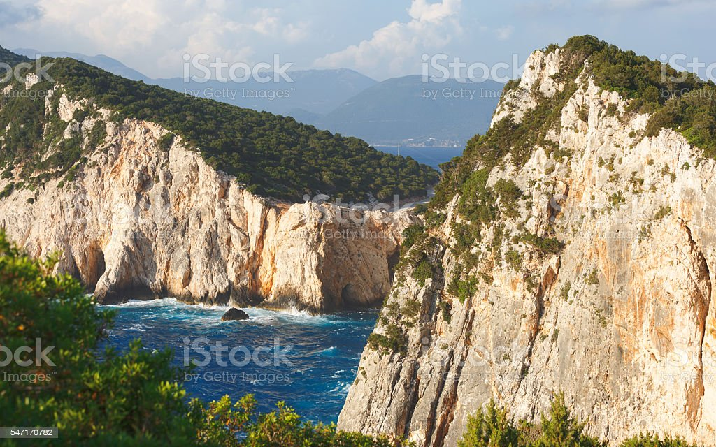 Coastline at Lefkada island, Greece stock photo