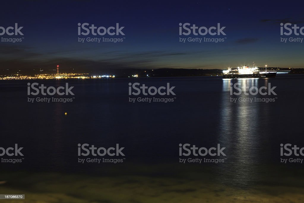 coastline at night, Bangor, Ireland. royalty-free stock photo