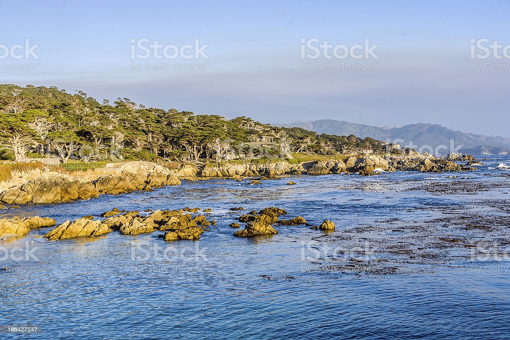 coastline at Point Lobos in Sunset royalty-free stock photo