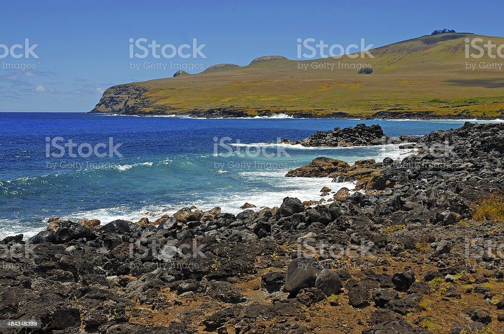 Coastline at Rapa Nui - Easter Island, Polynesia, Chile royalty-free stock photo