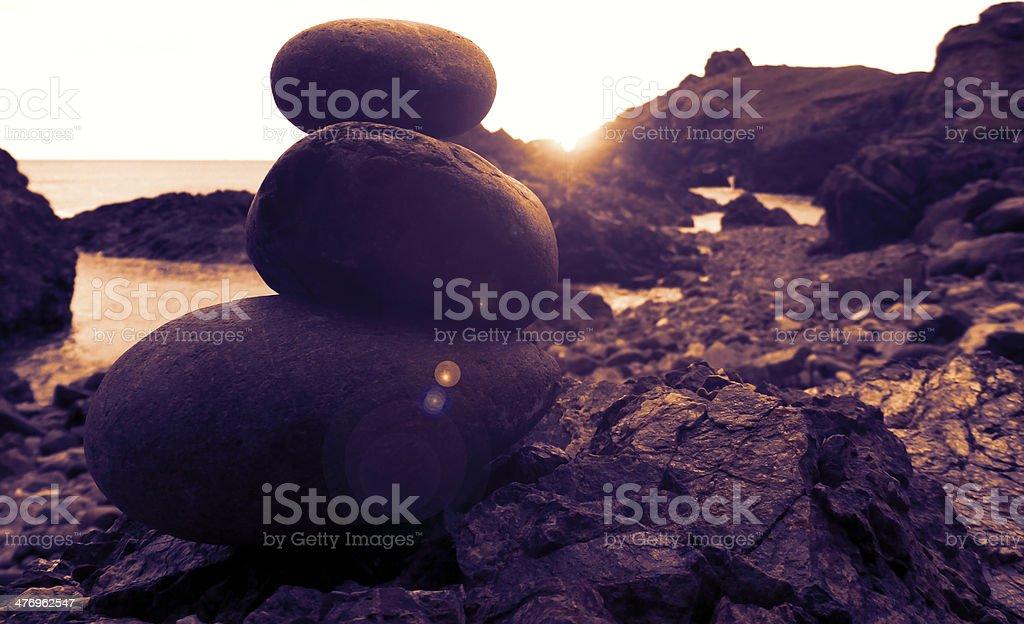 Coastline Balanced Stone Pile royalty-free stock photo