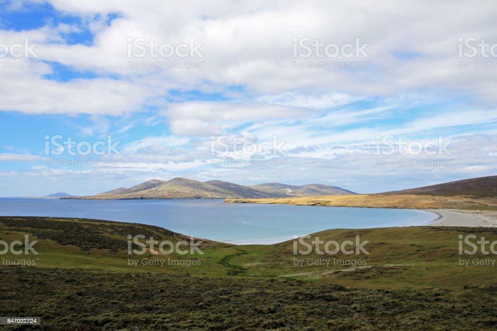 Coastline, beach at Saunders Island, Falkland Islands stock photo