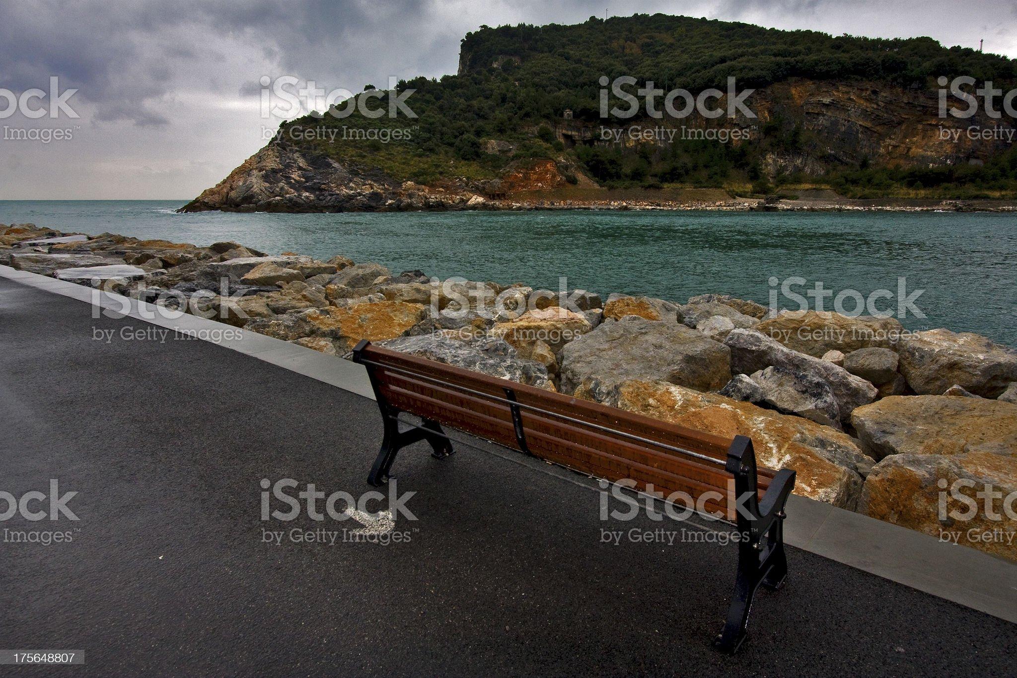 coastline bench royalty-free stock photo