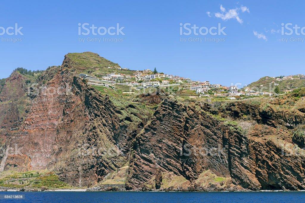Coastline between Camara de Lobos and Cabo Girao, Madeira, Portugal stock photo