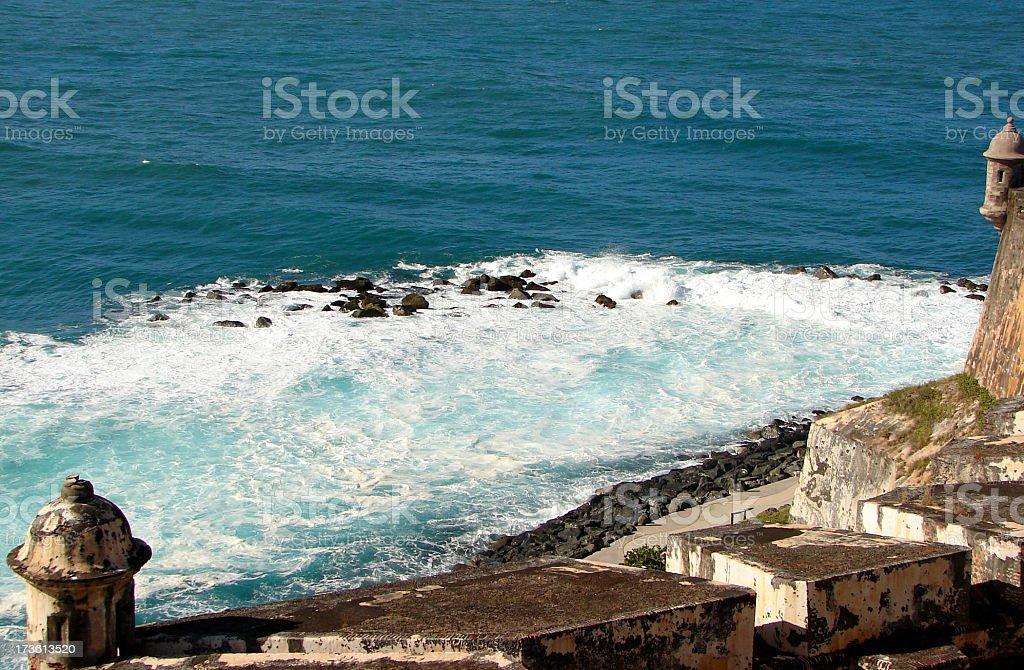 Coastline Fort Puerto Rico stock photo