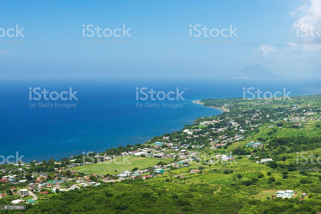 coastline from Brimstone hill fortress, tropical island St. Kitt stock photo