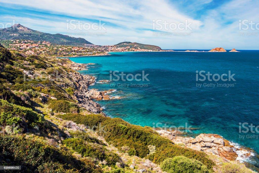 Coastline in east of Ile-Rousse in Corsica stock photo