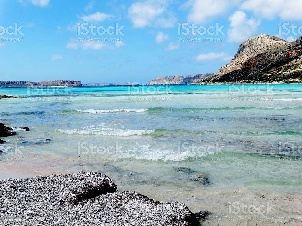 coastline landscape of meditrannean sea Crete island greece stock photo