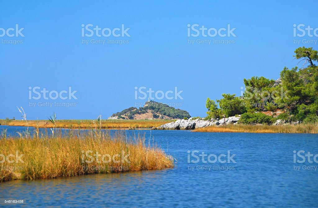 Coastline near Dalyan in Turkey stock photo