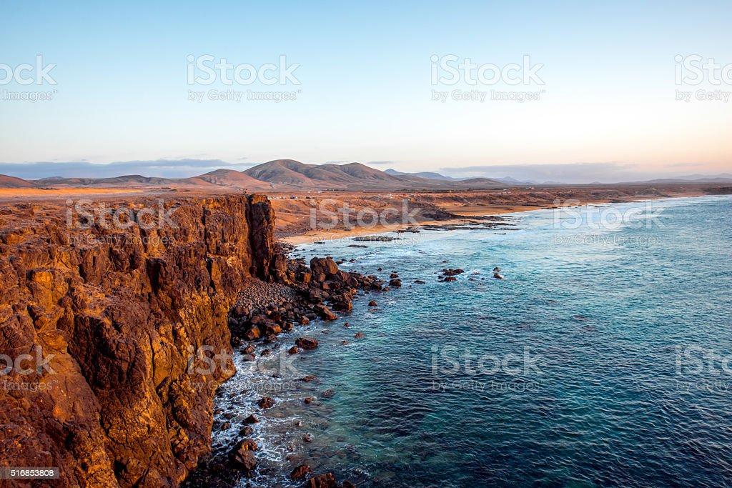 Coastline near El Cotillo village on Fuerteventura island stock photo