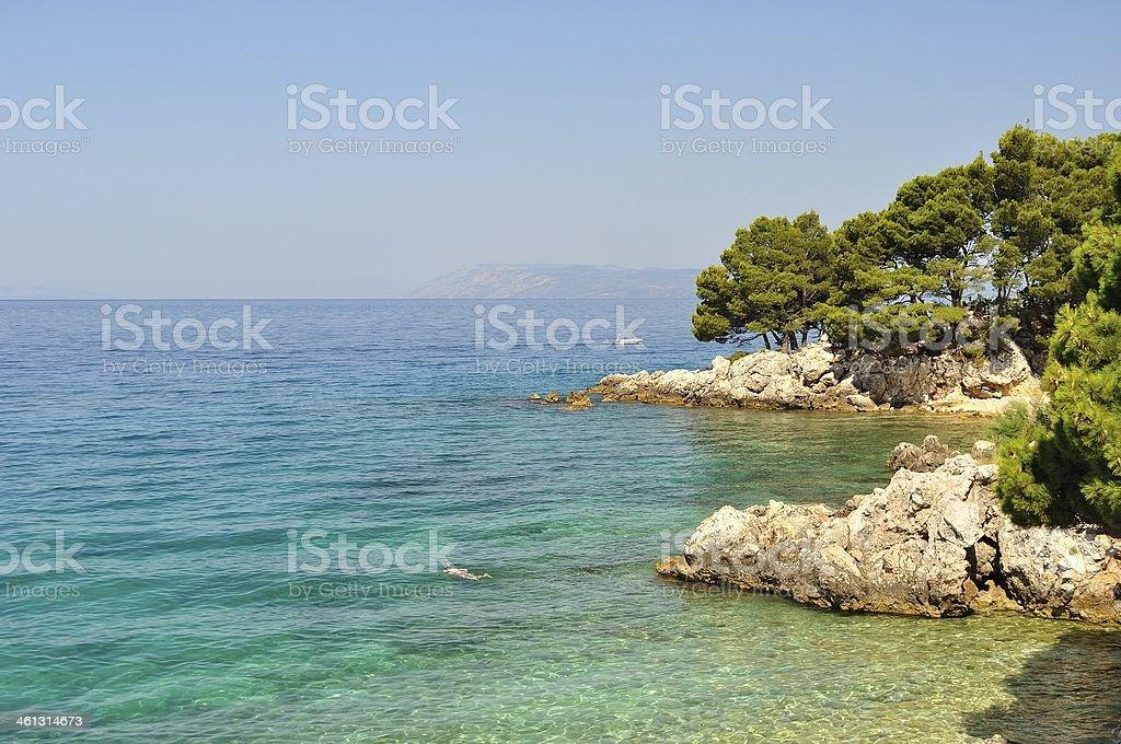 Wybrzeże Morza Adriatyckiego w pobliżu Podgora, Chorwacja zbiór zdjęć royalty-free