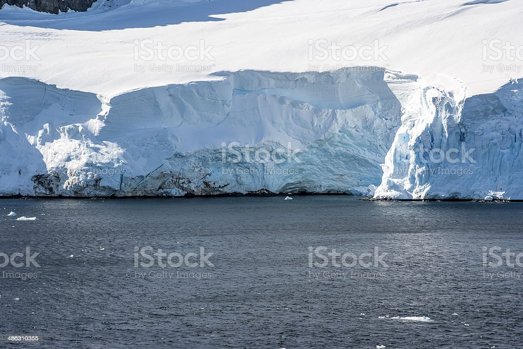 Coastline of Antarctica with ice formations stock photo