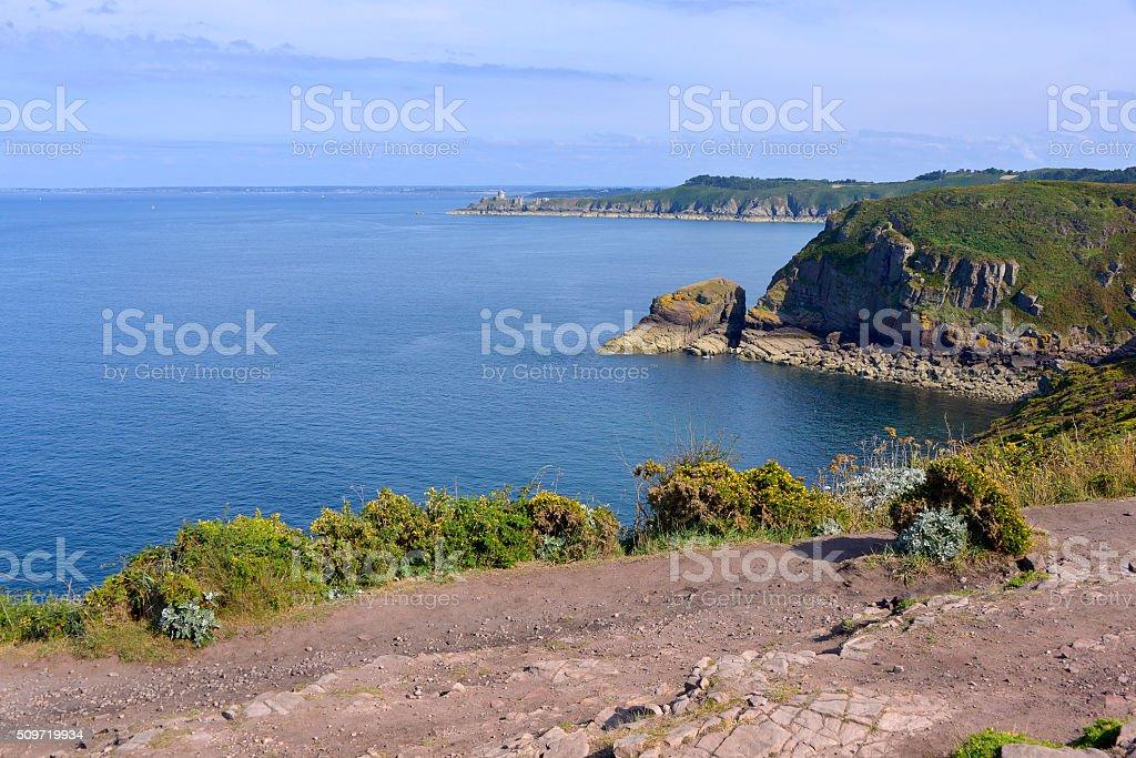 Coastline of Cap Fréhel in France stock photo