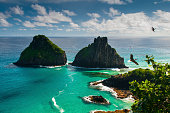Coastline of Fernando de Noronha beach in Brazil