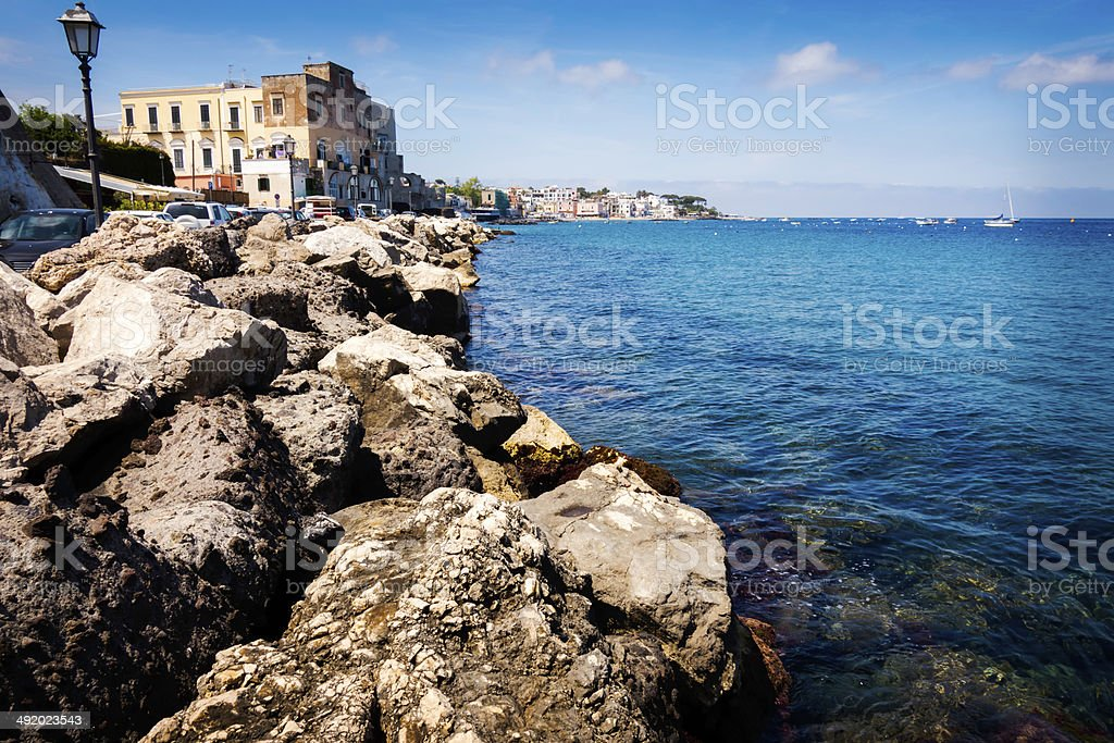 Coastline of Ischia Island, Bay of Naples stock photo